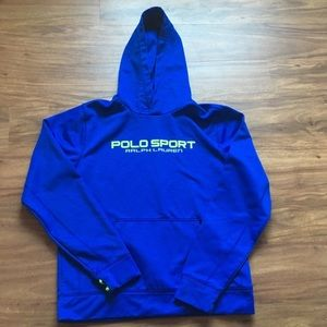 Vintage blue and yellow polo sport hoodie